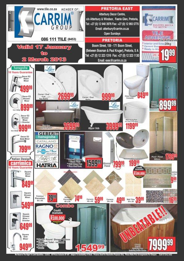 Carrim builders mecca nuary 2013 specials for Builders bathroom warehouse